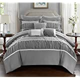 Chic Home Cheryl 10 Piece Comforter Set Complete Bed in a Bag Pleated Ruched Ruffled Bedding with Sheet Set And Decorative Pillows Shams Included, Queen Grey