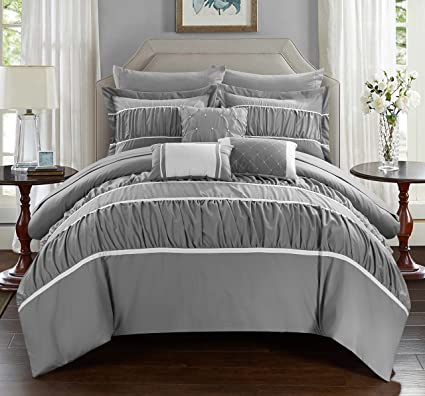 Chic Home Cheryl 10 Piece Comforter Set Complete Bed In A Bag Pleated  Ruched Ruffled Bedding