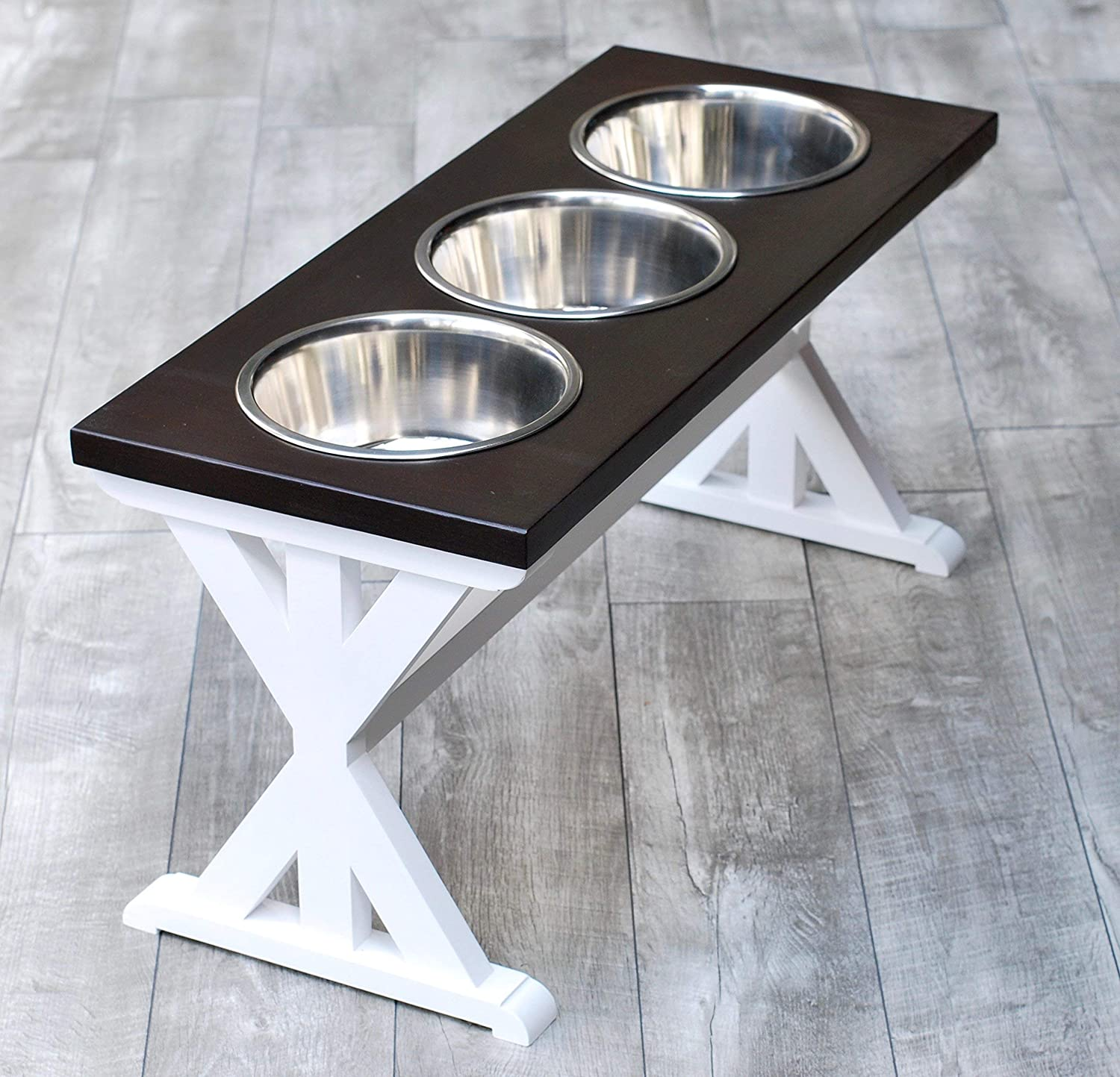 X-Large 3 Bowl Trestle Farmhouse Dog Bowl Stand