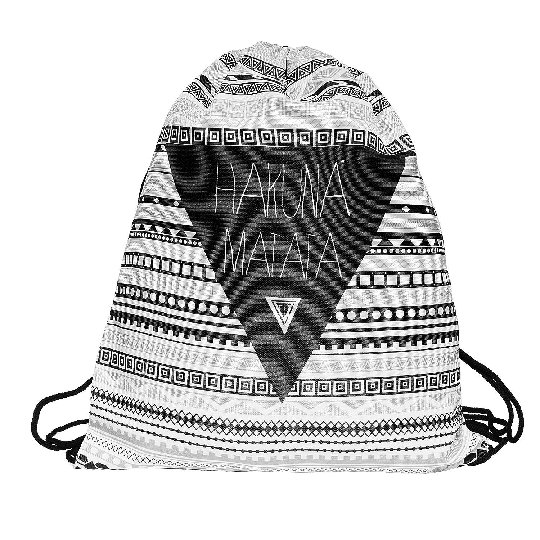 Loomiloo HMA - Mochila saco con asas de cuerda, estilo hipster con diseño azteca y texto Hakuna Matata 4260396213125