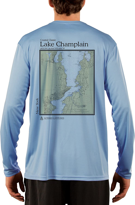 Coastal Classics Lake Champlain Nautical Chart Men's UPF 50+ UV/Sun Protection Long Sleeve T-Shirt