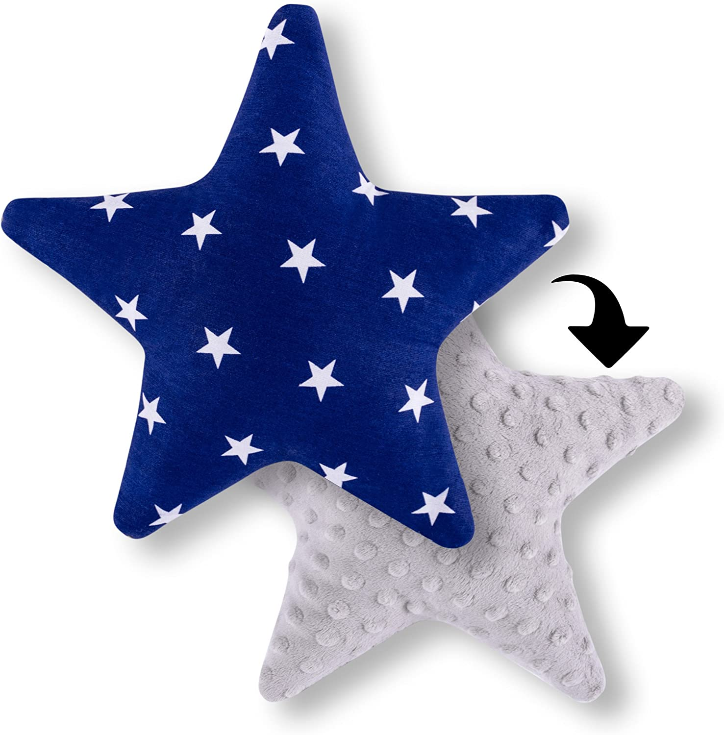 Amilian/® Star Shaped Pillow Cushion Two Sided Fleece//100/% Cotton Cosy Fluffy Striped Print White Approx 28 cm