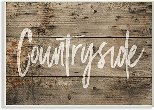 Stupell Industries Countryside Distressed Plank Wood Look Wall Plaque Art Proudly Made in USA
