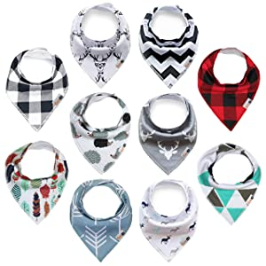 """Baby Bandana Drool Bibs 10-Pack for Boys & Girls, Unisex,""""Little Reindeer"""" Baby Shower Gift, 100% Organic Cotton, Soft, Absorbent and Stylish, for Drooling and Teething Infant or Toddler by Gifoo!"""