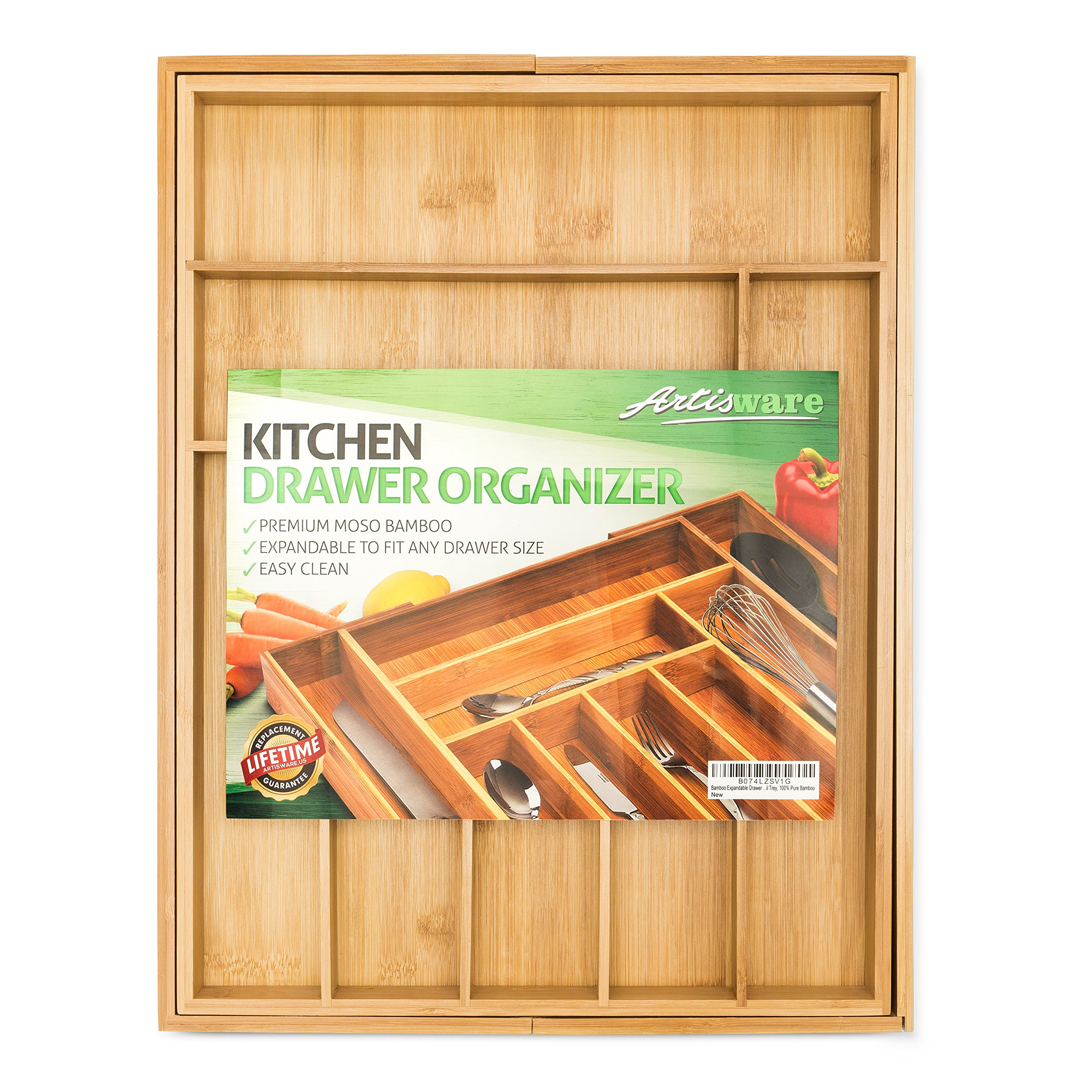 Bamboo Expandable Drawer Organizer, Premium Cutlery and Utensil Tray, 100% Pure Bamboo, Adjustable Kitchen Drawer Divider ... (7 Compartments Expandable) by Artisware (Image #2)