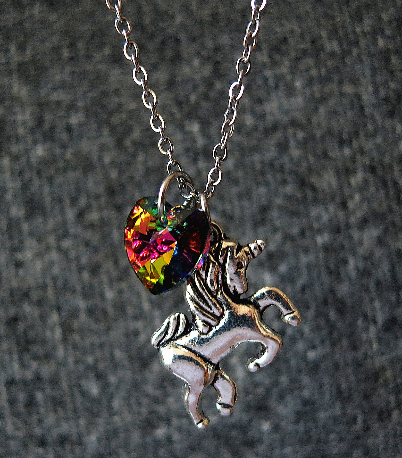 Girl Gift Unicorn Necklace with Rainbow Color Heart Crystal,Rainbow Unicorn Necklace,Fairy Tale Necklace, Fantasy Necklace, Animal Necklace 6