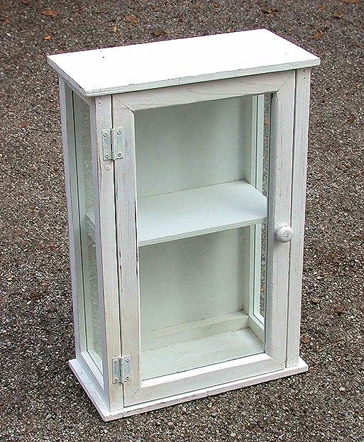 Hängeschrank, Küchenschrank mit Glaseinsatz, Holz weiß Vintage ...