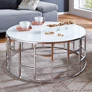 Moebella Designer Glas-Tisch Couchtisch mit Weißglas Alegra rund ...