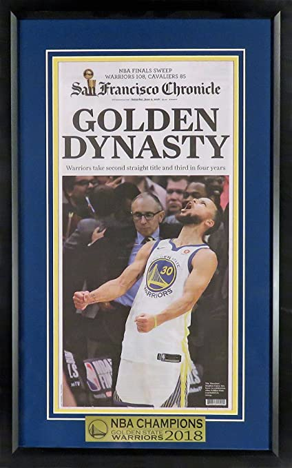 fe517d07035 Golden State Warriors 2018 Championship Newspaper Display (Feat. Stephen  Curry) Framed at Amazon s Sports Collectibles Store