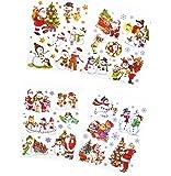 * 4 A4-Bögen (ca. 210 x 297 mm) wiederverwendbare farbige Fensterbilder für die Winter- und Weihnachtszeit mit Glitzer   selbstklebend   ca. 23 große Bilder und viele kleine Schneeflocken und Sterne   Weihnachtsmann Schneemann Teddy-Bär Schlitten