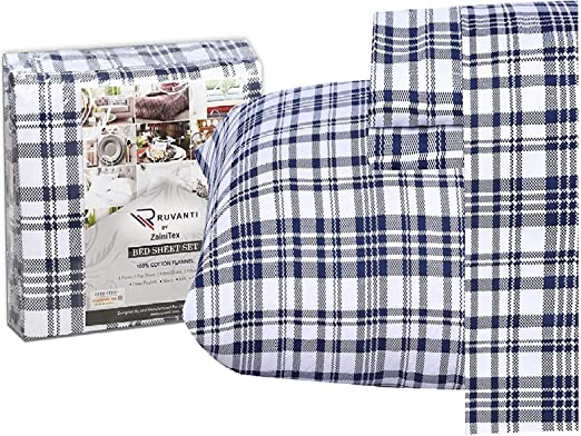 Amazon Com Ruvanti 100 Cotton 4 Piece Flannel Sheets Queen Blue White Plaid Deep Pocket Warm Super Soft Breathable Moisture Wicking Flannel Bed Sheet Set Queen Include Flat Sheet Fitted Sheet 2 Pillowcases