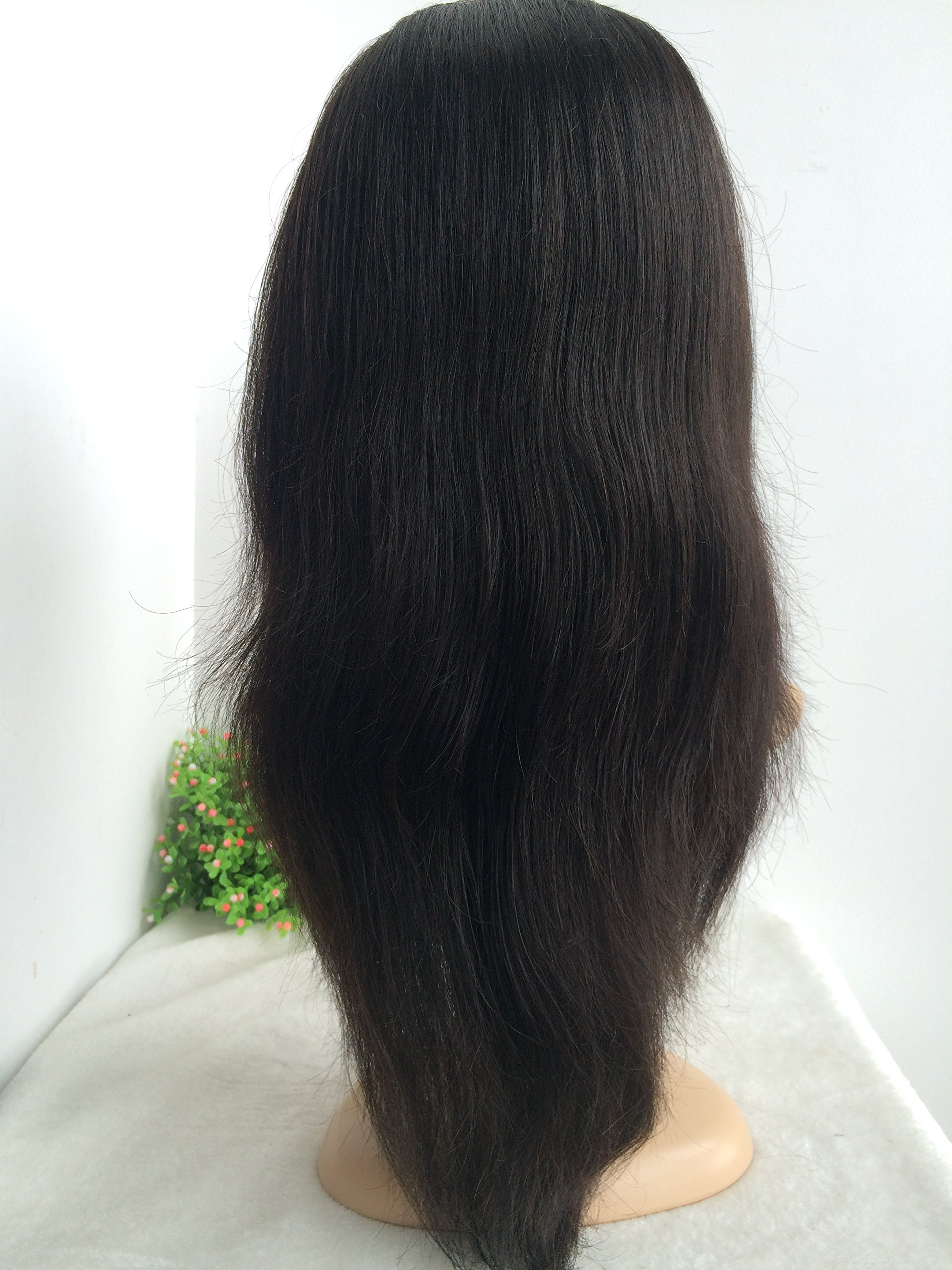 16 INCH,NATURAL COLOR,CHINESE VIRGIN SILK STRAIGHT FULL LACE SILK TOP WIG by April silk top wigs (Image #2)