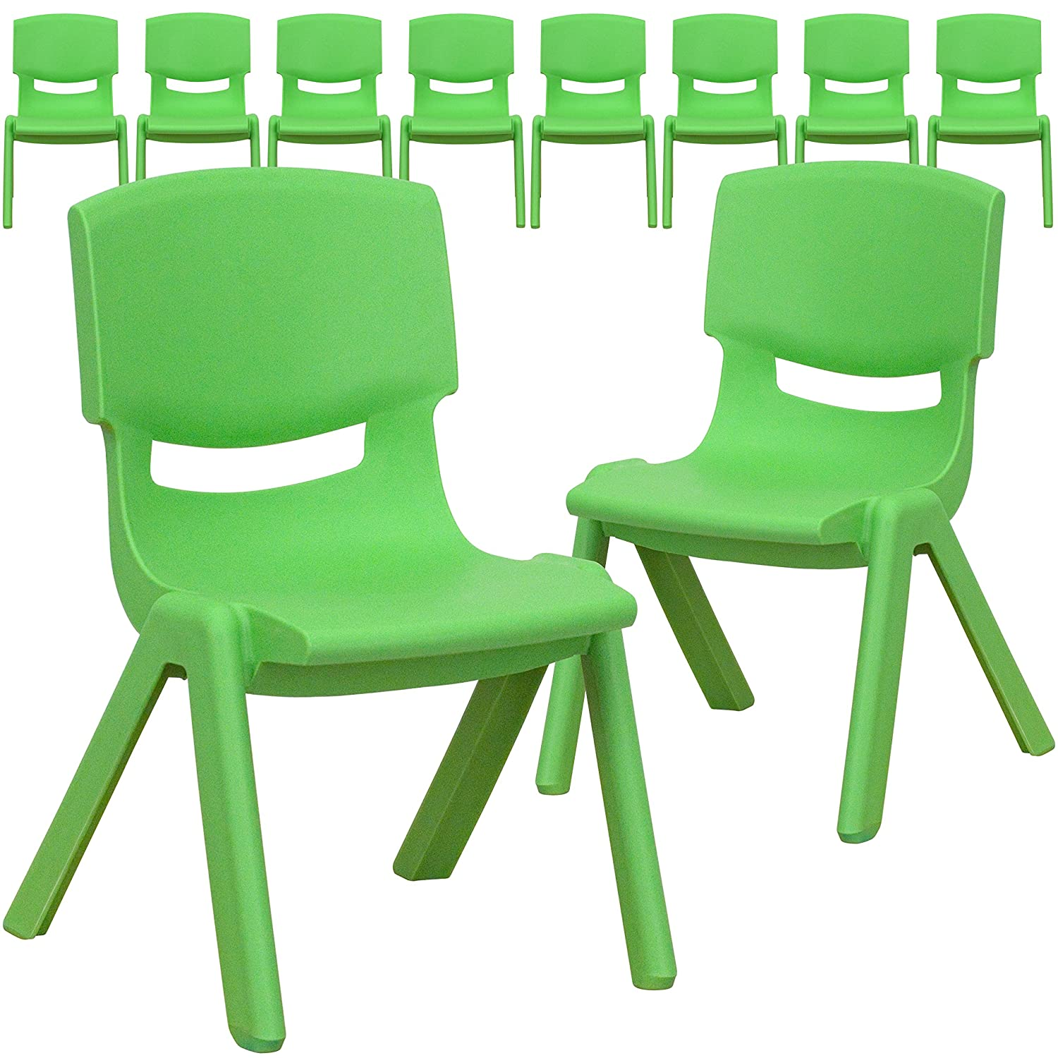 Plastic school chairs - Amazon Com Flash Furniture Green Plastic Stackable School Chair With 10 5 Seat Height Kitchen Dining
