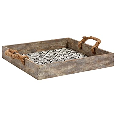 Stone & Beam Rustic Farmhouse Wood Serving Tray With Patterned Rattan and Rope Handles - 13.5 x 13.5 Inches, Black and White