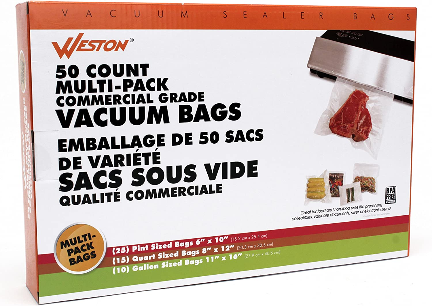 Weston Products 30-0107-W Weston Brands Vacuum Sealer Bags, Clear