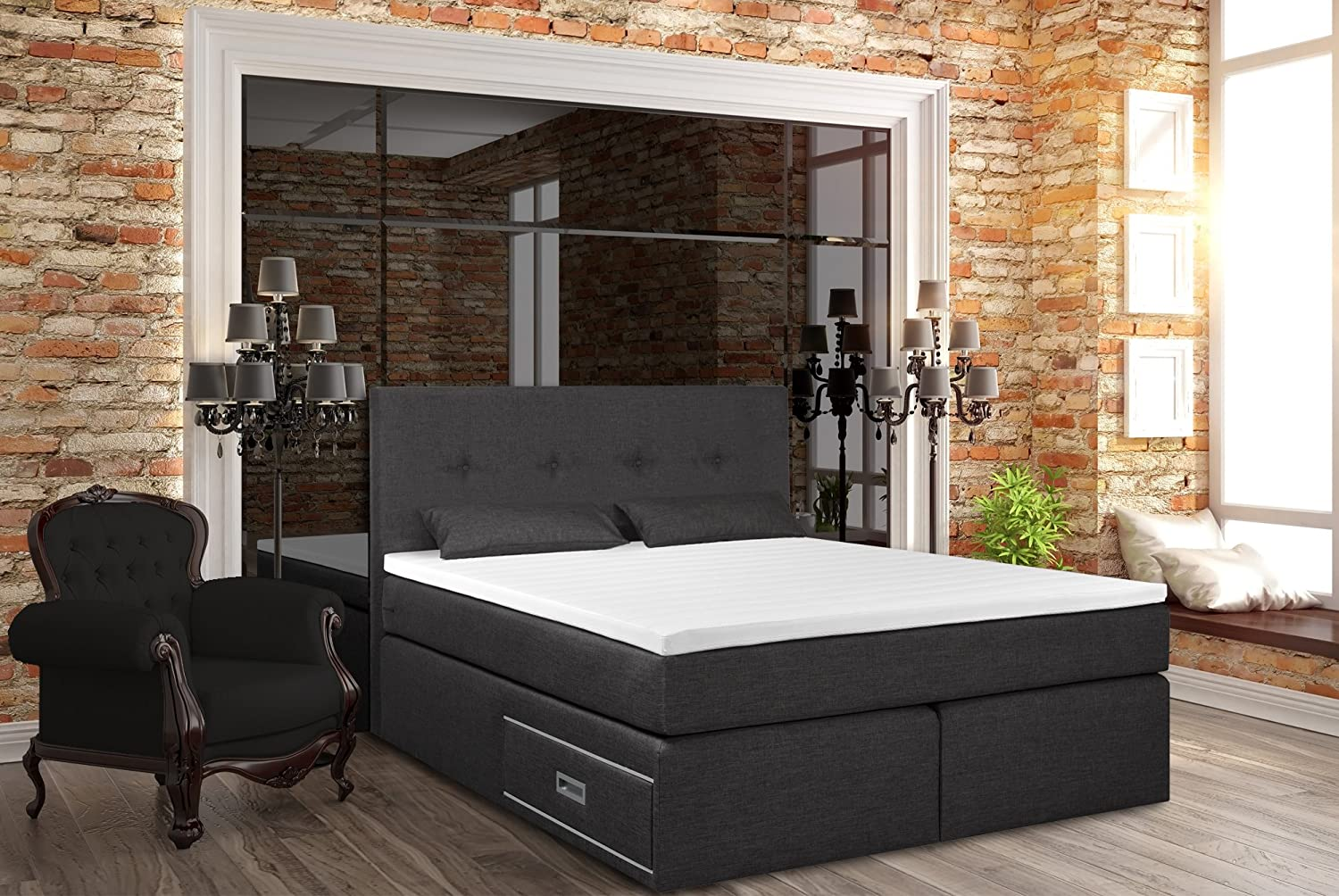 boxspringbett ankona 160x200 schublade 7 zonen. Black Bedroom Furniture Sets. Home Design Ideas