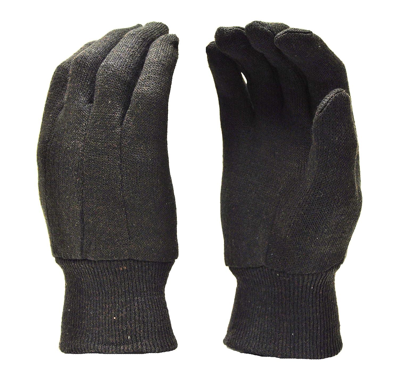 G & F 4408 Heavy Weight 9OZ. Cotton Brown Jersey Work Gloves, Knit Wrist, Sold by Dozen (12-Pairs) - Large
