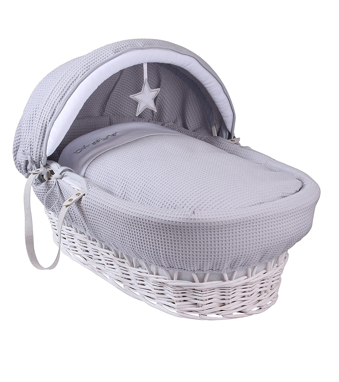 Clair de Lune Silver Lining White Wicker Moses Basket inc. bedding, mattress & adjustable hood (Grey) CL5419WG