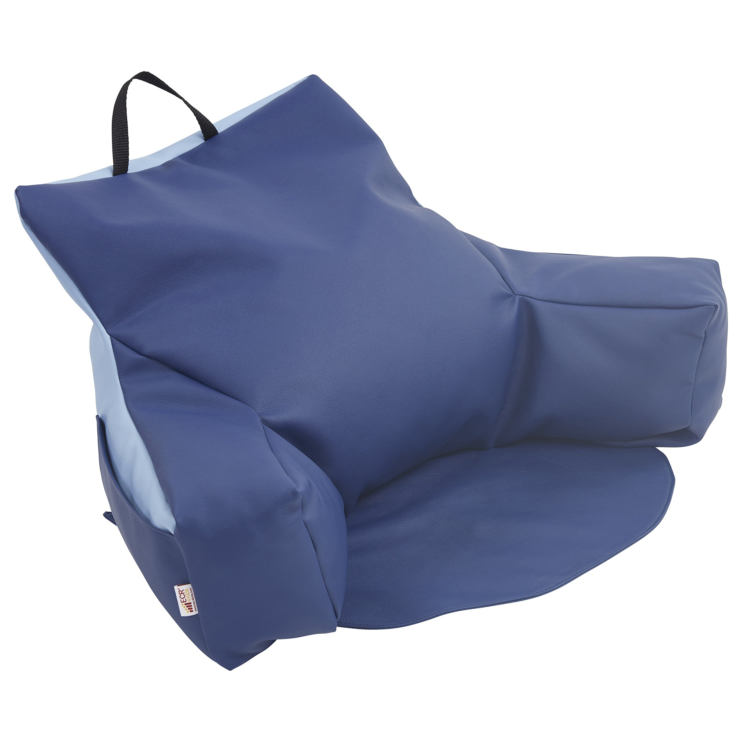 ECR4Kids Relax-N-Read Bean Bag Back Pillow Chair with Storage Pockets, Navy and Powder Blue