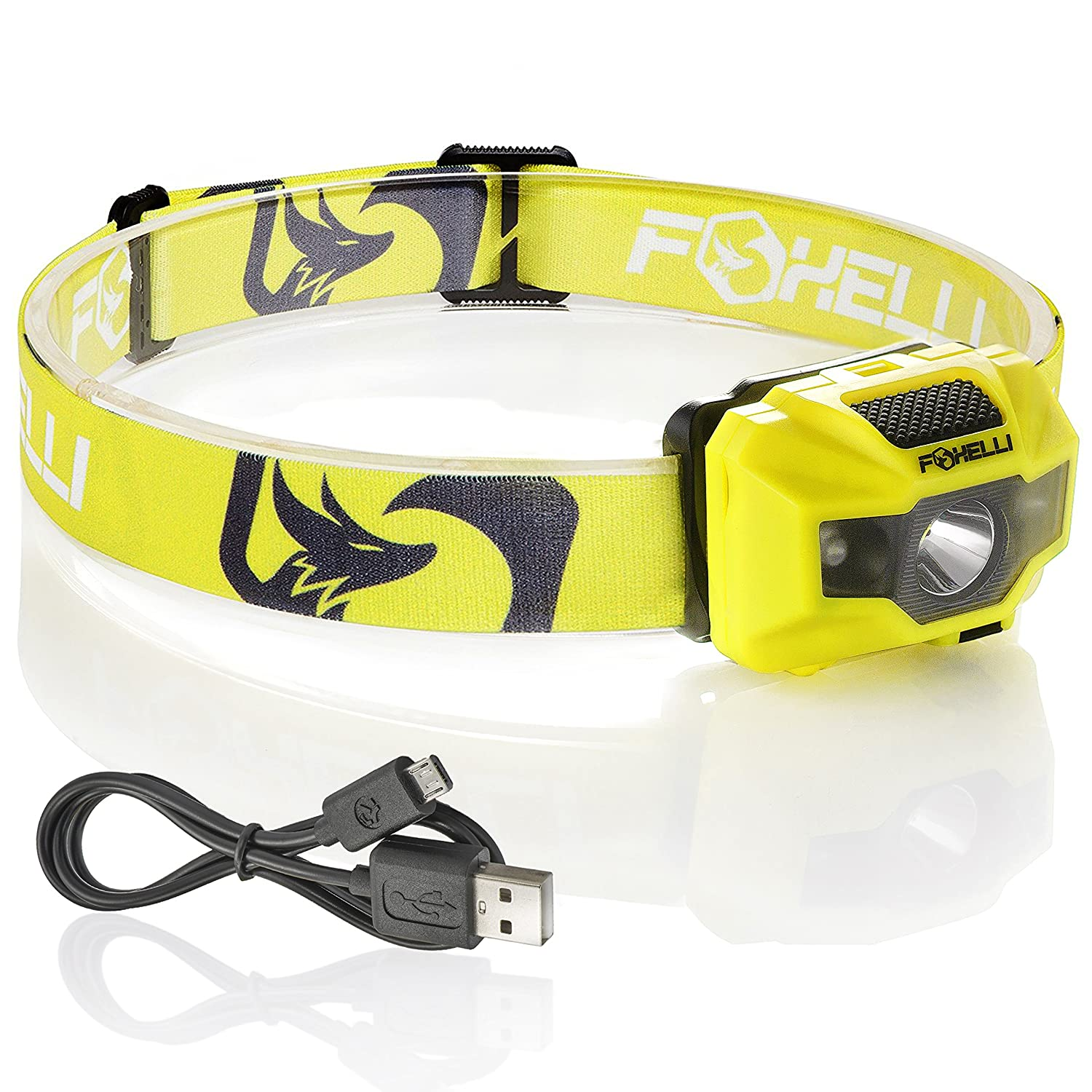 Foxelli USB Rechargeable Headlamp Flashlight 180 Lumen up to 40 Hours of Constant Light on a Single Charge Bright White Led Red Light Compact Easy to Use Lightweight Comfortable Headlight