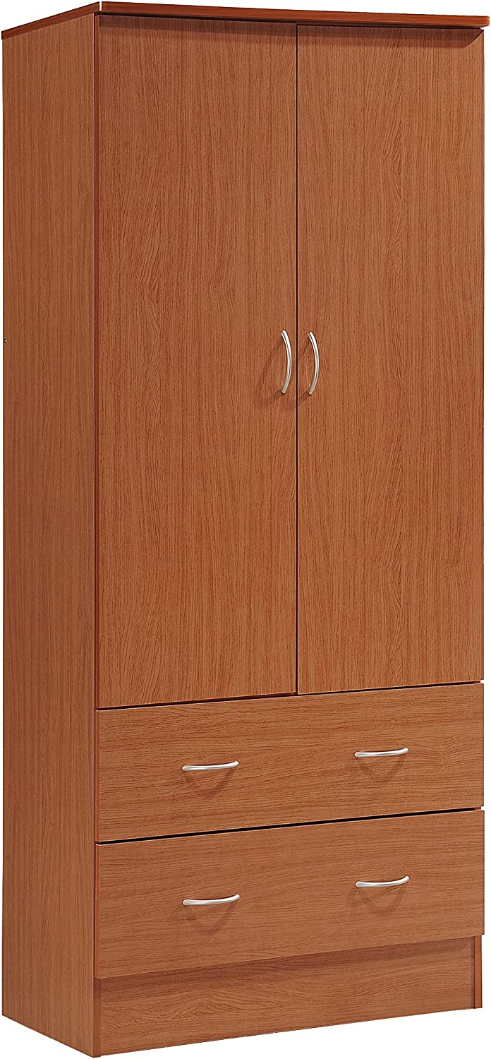 Hodedah Two Door Wardrobe, with Two Drawers, and Hanging Rod, Cherry