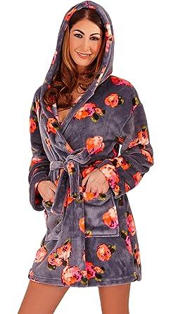 Dannii Matthews Luxurious Ladies Neon Rose Wrapover Fleece Short Length Dressing  Gown with Hood f12061fd3