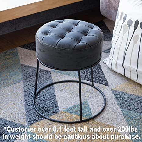 Fine Art Leon Small Round Ottoman Stackable Footstool Leather Pouf Ottoman Foot Rest For Living Room Vanity Dorm Apartment Gray Ncnpc Chair Design For Home Ncnpcorg
