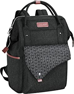 KROSER Laptop Backpack 15.6 Inch Stylish School Computer Backpack with USB Charging Port Water-repellent College Daypack Travel Business Work Bag for Women/Men-Black