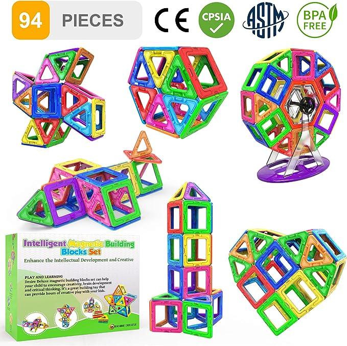 Desire Deluxe Bloques de Construcción Magnéticos Infantiles - Juego Creativo Educativo de 94 Piezas de Formas Geométricas con Imanes para Estimular la Imaginación Niños y Niñas: Amazon.es: Juguetes y juegos