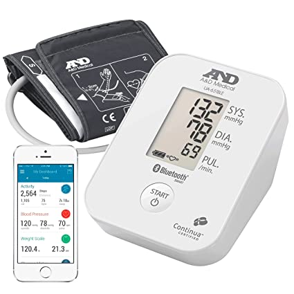 A&D Medical-651BLE Tensiómetro de Brazo, color blanco, Bluetooth, aplicación A&D Connect