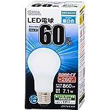 OHM LED電球 一般電球形 60形相当 口金直径26mm 昼白色 [品番]06-1736 LDA7N-G AG5