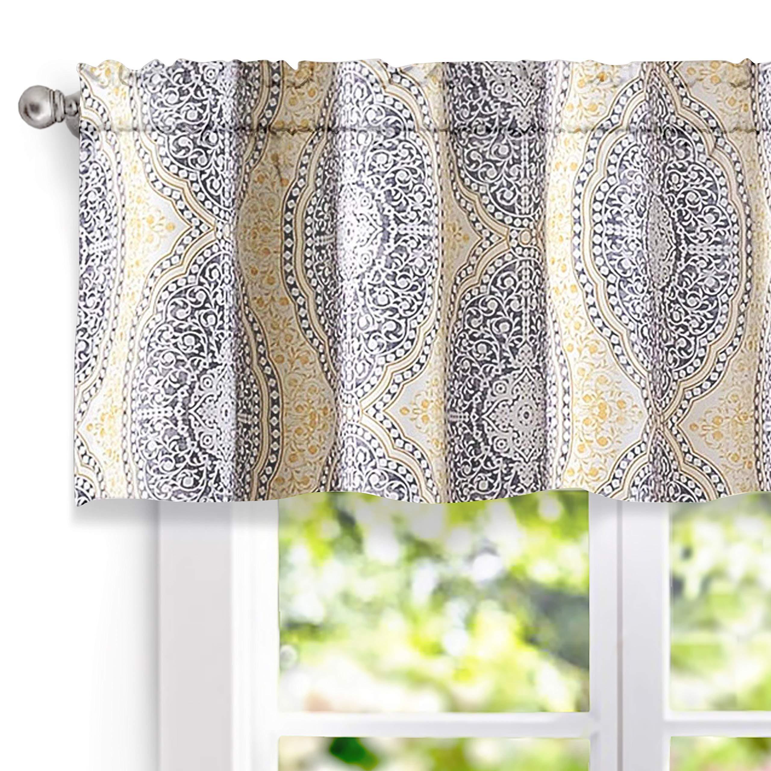 DriftAway Adrianne Damask/Floral Pattern Window Curtain Valance (52''x18'', Yellow/Gray)