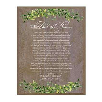 LifeSong Milestones Personalized The Dash in Between Sympathy Gifts for Loss of Loved one Bereavement Wall