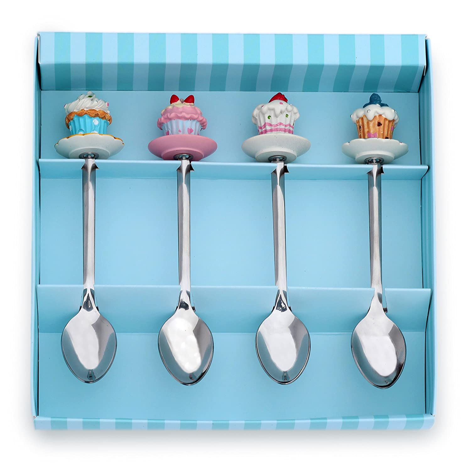 Meshberry Dessert Serving Spoons - Gift Set for Party & Birthday - Each Teaspoon With Souvenir Cupcakes - Ideal for Sweet Bar Appetizer