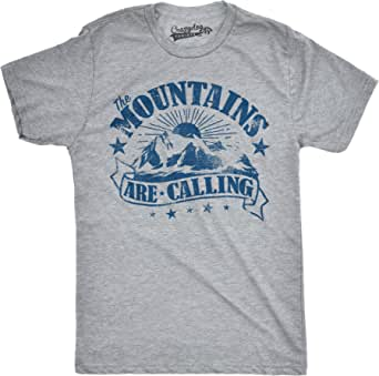 Crazy Dog Tshirts - Mens The Mountains Are Calling Cool Sunset Vintage Rockies Funny Hiking Nature T Shirt - Camiseta Divertidas