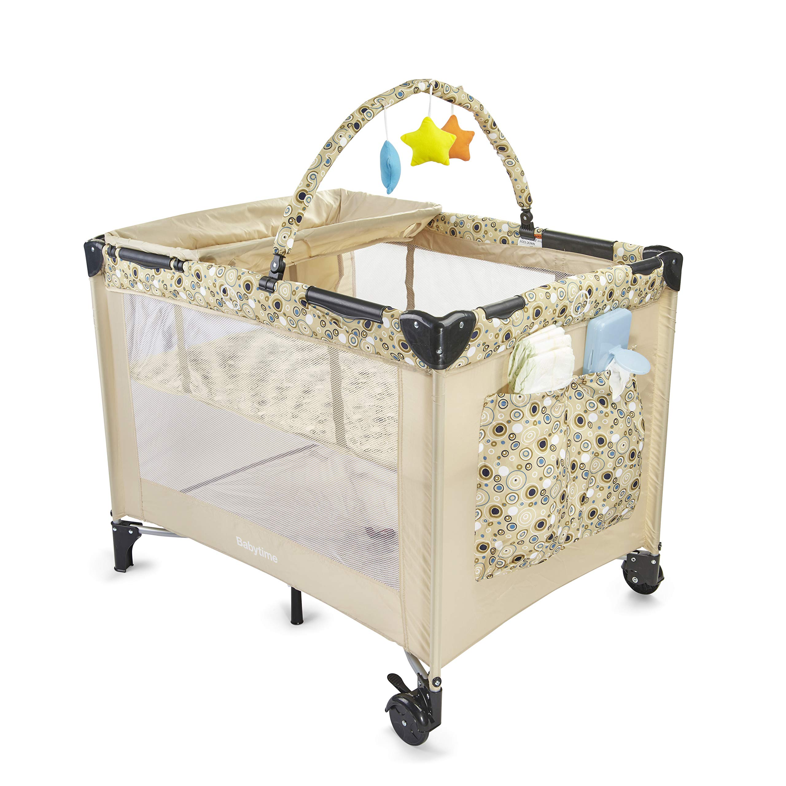 Big Oshi Deluxe Portable Playard - Foldable Nursery Center Includes Carry Bag for Extra Portability and Easy Storage - Lightweight, Sturdy Design, Includes Removable Bassinet & Changing Table, Beige