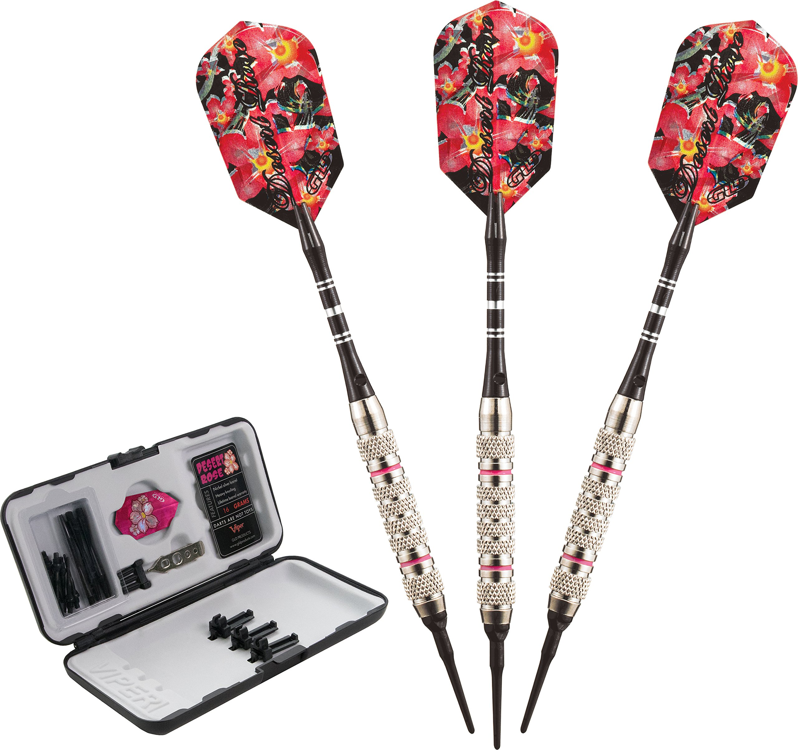Viper Desert Rose Soft Tip Darts with Storage/Travel Case, 16 Grams by Viper by GLD Products