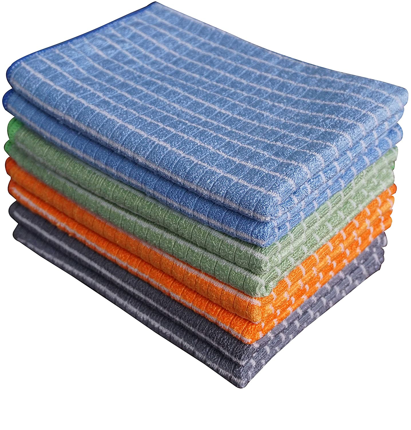 Gryeer Bamboo and Microfiber Kitchen Towels - 8 Pack (2 Cool Gray, 2 Blue, 2 Green, 2 Orange) - Super Soft, Absorbent and Antibacterial Dish Towels, 18 x 26 Inch