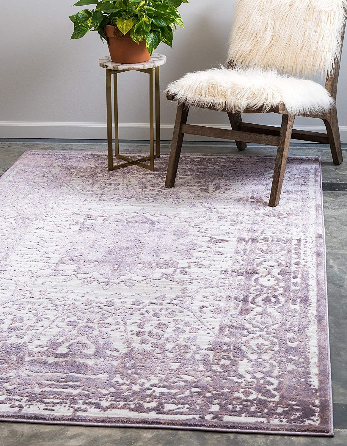 Unique Loom Aberdeen Collection Textured Traditional Vintage Tone Area Rug, 9' 0 x 12' 0, Violet/Ivory