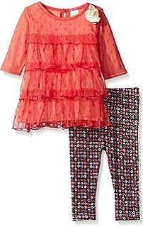 Youngland Baby Girls Long Sleeve Tiered Mini Dress & Knit Legging
