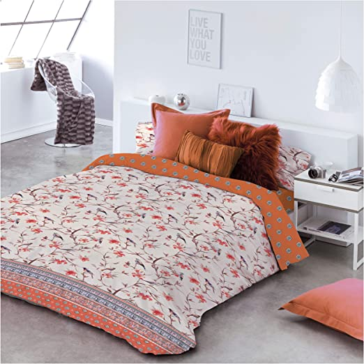 COTTON ARTean Funda Nordica Birds Cama de 150/160 ALGODÓN 100 ...