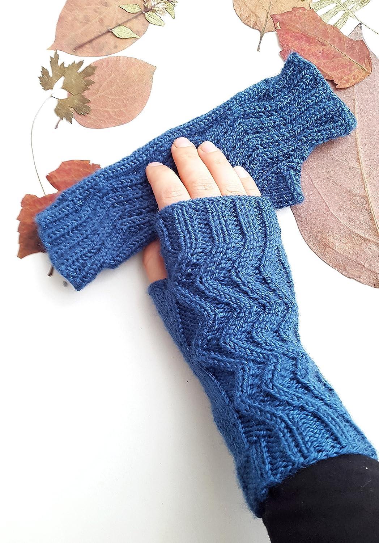Women's knit gloves - Knit fingerless gloves Blue gloves Fingerless gloves Women gloves Gift for girlfriend