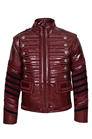 New Men Military Cherry Red Real Cowhide Leather Jacket Parade Rock
