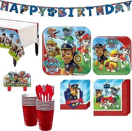 Amazon.com: Paw Patrol Kit de fiesta de cumpleaños, incluye ...