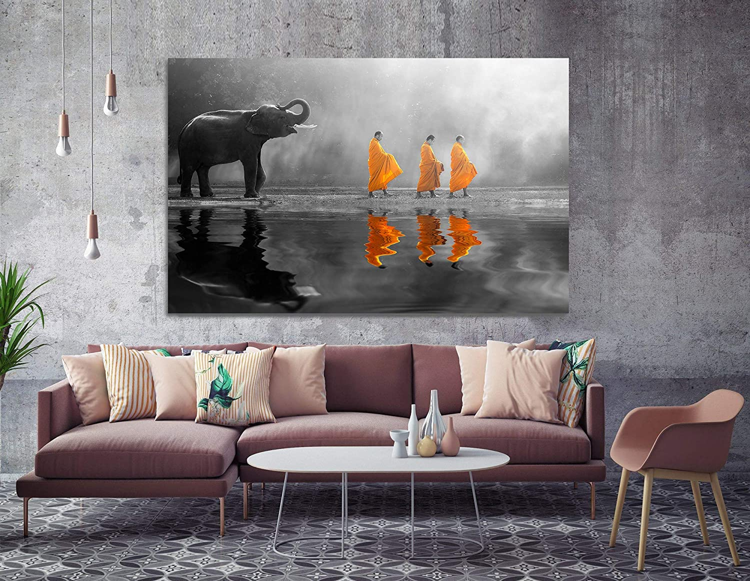 awesome Zen Wall Art Part - 4: Orlco art HD Print Thailand Elephant Walk Behind Monks Buddha Zen Wall Art  with Frame Picture Canvas Prints for Study or Office Zen Wall Decor  Paintings ...