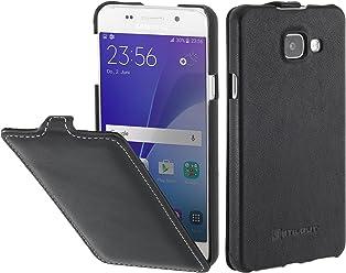 StilGut UltraSlim Case, Custodia in Pelle per Samsung Galaxy A3 (2016), Nero Nappa