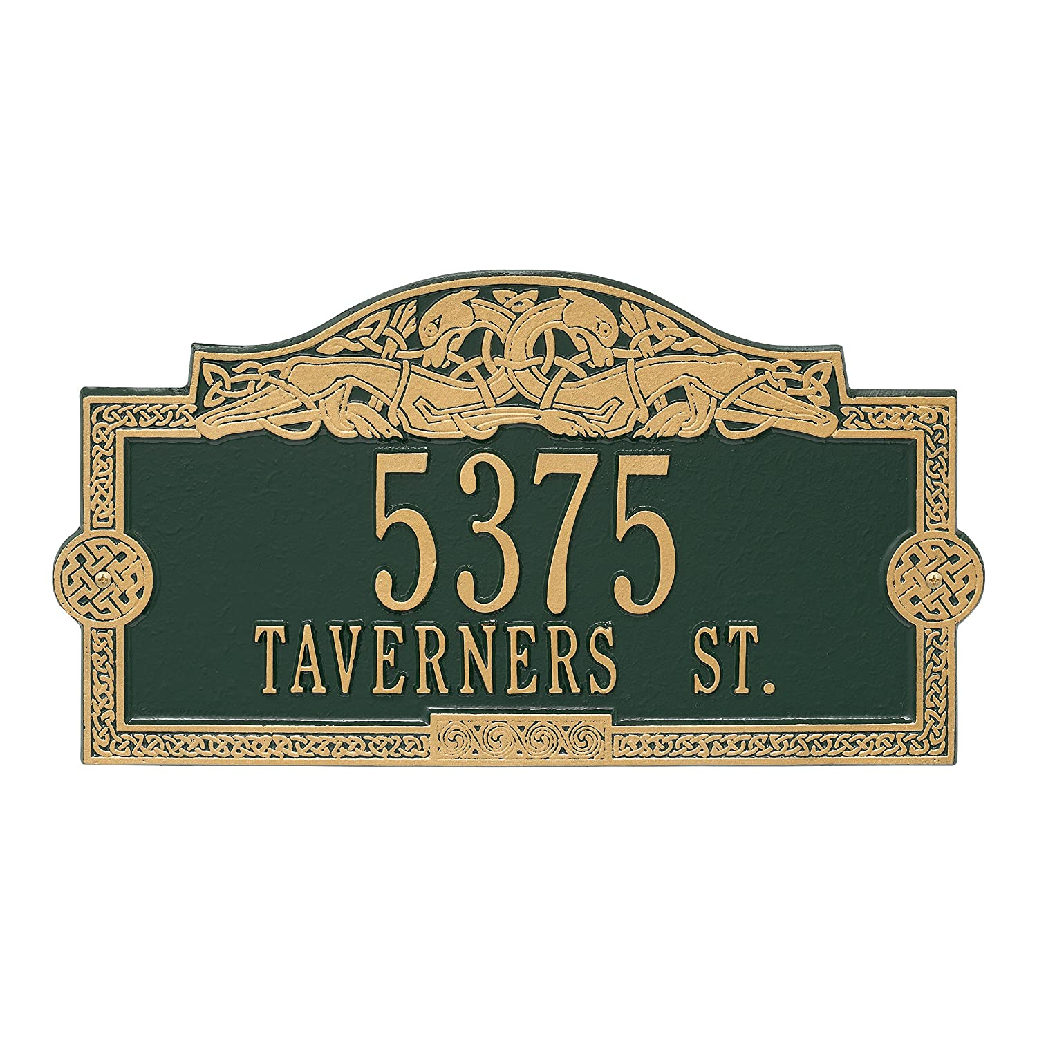 Whitehall Personalized Indoor/Outdoor Cast Irish Celtic Dragon Address Plaque Sign with House Number and Street Name (Antique Copper) Whitehall Products