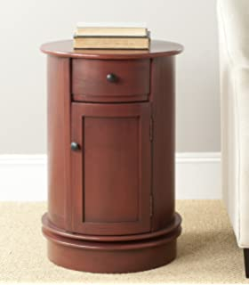 Safavieh American Home Collection Oval Swivel Storage End Table, Red