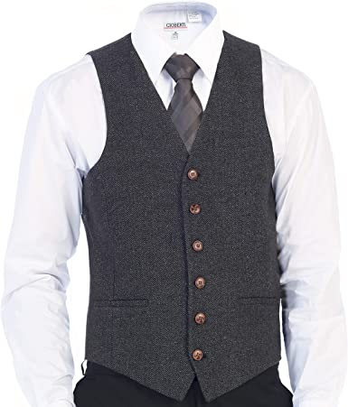 Gioberti Mens 6 Button Slim Fit Formal Herringbone Tweed Vest