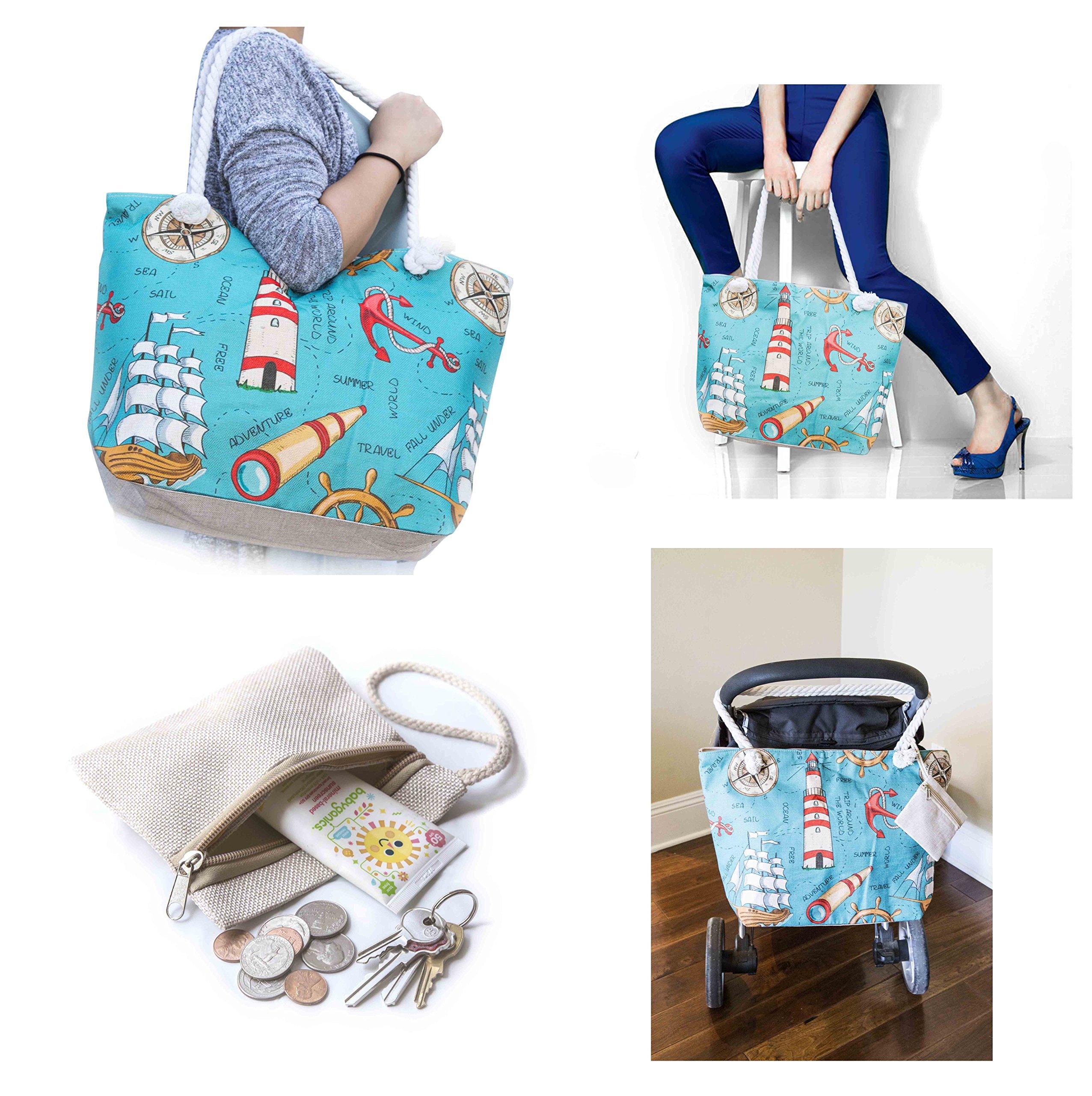 JJMG NEW Summer Beach Bag Stroller Friendly Women's Large Capacity Mom's Tote Beach Shoulder Bag With Rope Handles –Shopping Bag, Diaper Bag, Yoga Bag, Toys, Towels, Swim Suits, etc.